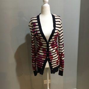 Tory Burch floral & navy stripe cardigan